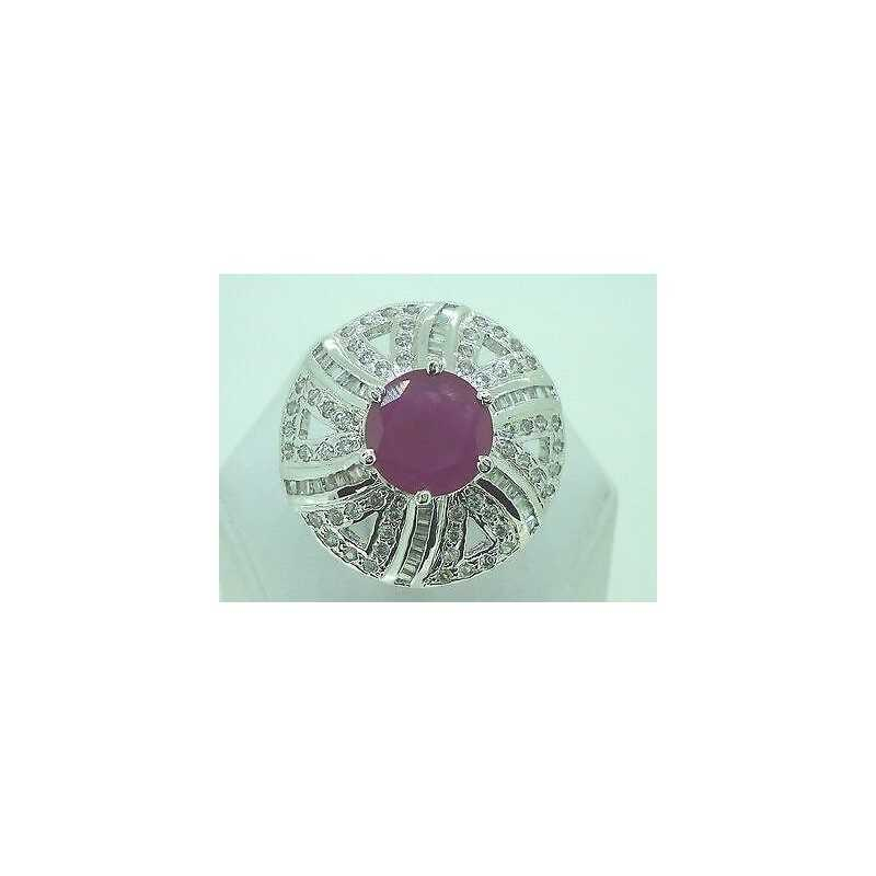 RING, ZIRCONIA AND RUBIES RHODIUM-PLATED MIS16