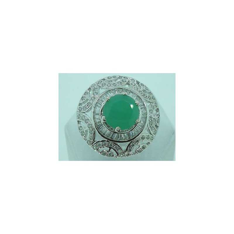 RING, ZIRCONIA AND EMERALD RHODIUM PLATED MIS 16