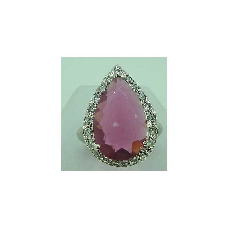 RING, ZIRCONIA AND TOPAZ DROP-CUT PINK RHODIUM-PLATED MIS 15