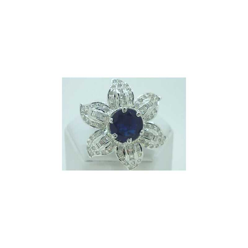RING ZIRCONIA AND SAPPHIRE ROUND RHODIUM-PLATED MIS 15