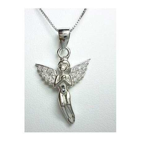 ANGEL PENDANT SILVER RHODIUM-PLATED GOLD DIAMOND LABORATORY HIGH MANUFACTURING