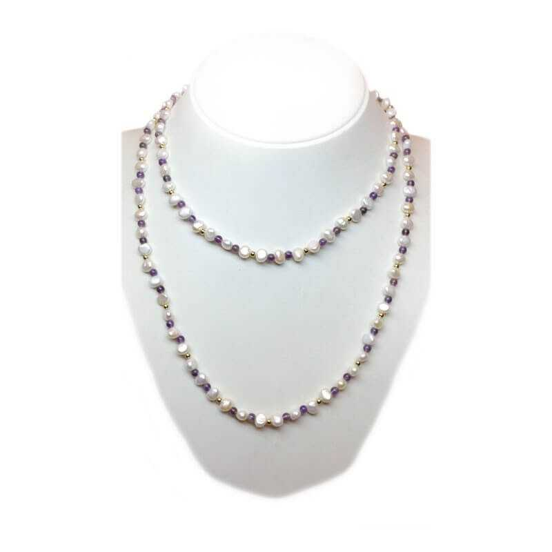 NECKLACE with PEARLS SCAR. and AMETHYST with INSERTS YELLOW GOLD - 100cm