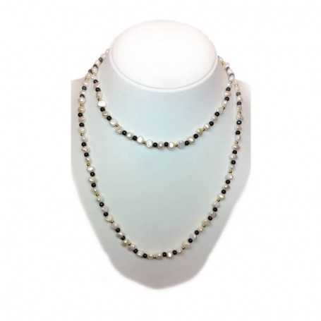 NECKLACE some kind of PEARLS and ONYX INSERTS with rhodium-plated GOLD - 100cm