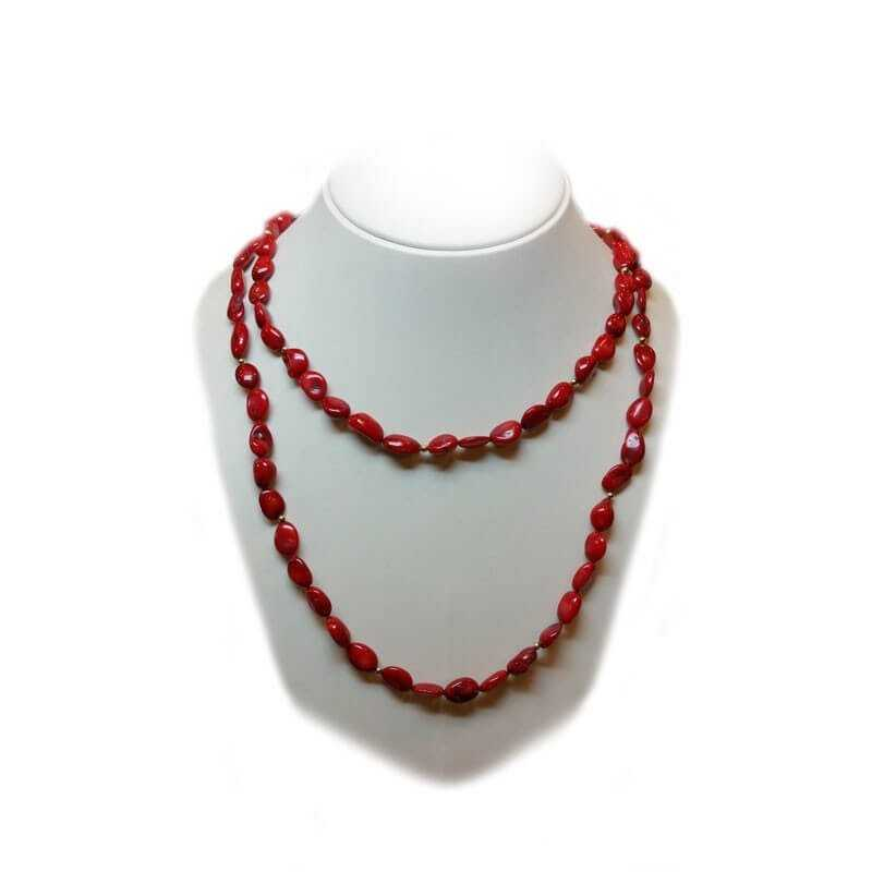 CORAL NECKLACE with INSERTS of a rhodium-GOLD - 120cm