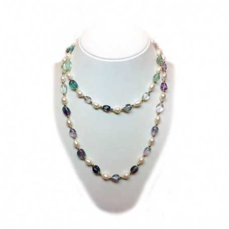 PEARL NECKLACE RICE and FLUORITE with INSERTS rhodium-plated GOLD - 102cm