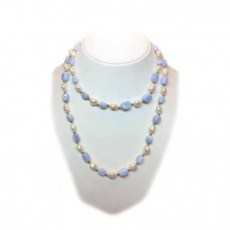 NECKLACE some kind of PEARLS and AGATE INSERTS with rhodium-plated GOLD - 100cm