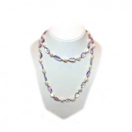 NECKLACE some kind of PEARLS and AMETHYST INSERTS and rhodium-plated GOLD - 100cm