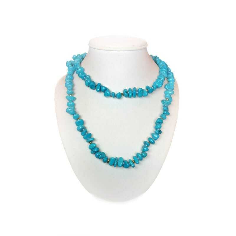 NECKLACE of TURQUOISE with inlay rhodium-plated GOLD - 80cm