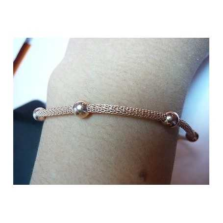 BRACELET SILVER 925 RHODIUM with PINK GOLD VALENTINE's day CHRISTMAS EASTER FILIG