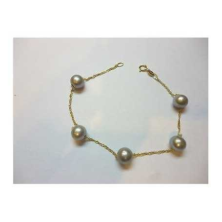 Bead BRACELET GREY SILVER TAHITI 7/ 7.5 mm YELLOW GOLD 18 KT