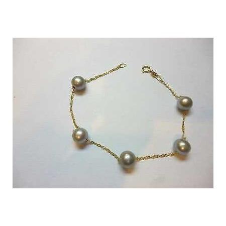 Perles BRACELET GRIS ARGENT TAHITI 7/ 7,5 mm en OR JAUNE 18 KT