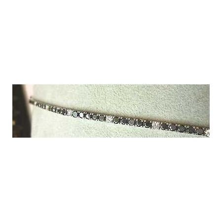 - TENNIS BRACELET-CARAT 5.0 BLACK AND WHITE DIAMONDS IN 18 K GOLD 5.0 2.0