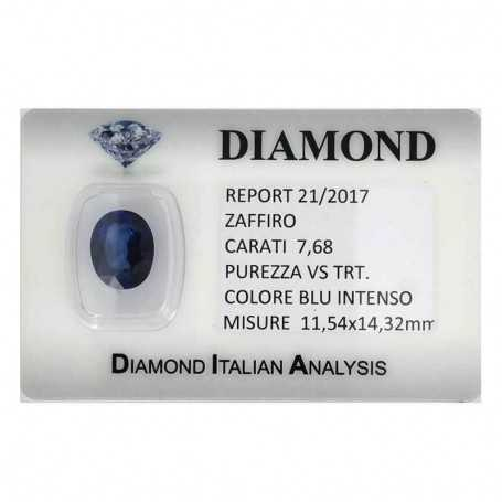 BLUE SAPPHIRE CERTIFICATE 7.68 CARATS, VS clarity, TRT and BLISTER