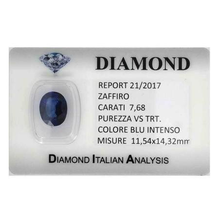 Certified blue sapphire 7.68 carat purity VS TRT in BLISTER