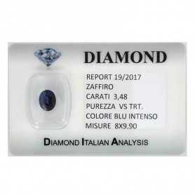 BLUE SAPPHIRE CERTIFIED 3.48 CARAT VS clarity TRT in BLISTER
