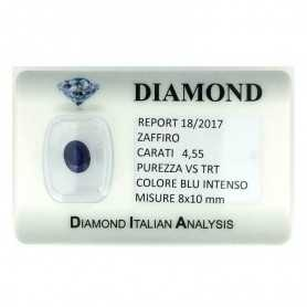 BLUE SAPPHIRE CERTIFIED 4.55 CARAT VS clarity TRT in BLISTER