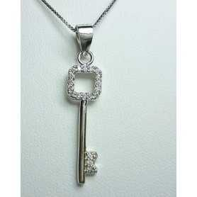 KEY PENDANT SILVER-RHODIUM PLATED GOLD DIAMOND LABORATORY HIGH MANUFACTURING