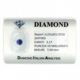 BLUE SAPPHIRE CERTIFIED 2.17 CARAT VS clarity TRT in BLISTER