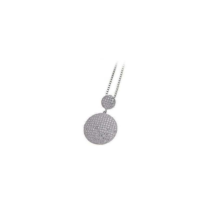 PENDANT FILIGREE ARG RHODIUM-PLATED WHITE GOLD DIAMONDS RUSSIAN LAB