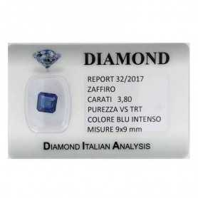 BLUE SAPPHIRE CERTIFICATE 3.80 CARATS, VS clarity, TRT and BLISTER