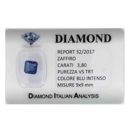 Blue sapphire certified 3.80 carat purity VS TRT in BLISTER