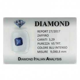 BLUE SAPPHIRE CERTIFIED 3.29 CARAT VS clarity TRT in BLISTER