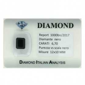 BLACK DIAMOND CERTIFICATE 6.70 CARATS, VS clarity, in BLISTER