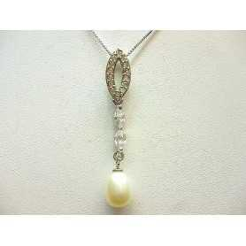 PENDANT CROSS ZIRCONIA AS DIAMONDS WITH PEARL SILVER LOTTO 1.0 0.50