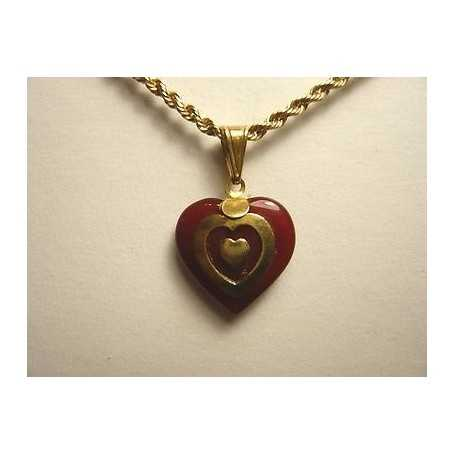 PENDANT HEART 18K GOLD 1.80 GRAMS CARNELIAN VALENTINE'S DAY, EASTER, CHRISTMAS LAST