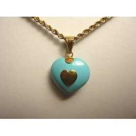 PENDANT HEART 18K GOLD 1.80 GRAMS TURQUOISE VALENTINE'S DAY, EASTER, CHRISTMAS LAST