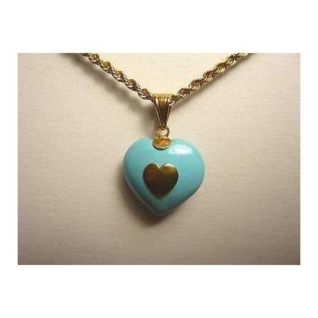 PENDANT HEART 18K GOLD 1.80 GRAMS TURQUOISE VALENTINE'S DAY, EASTER, CHRISTMAS LAST