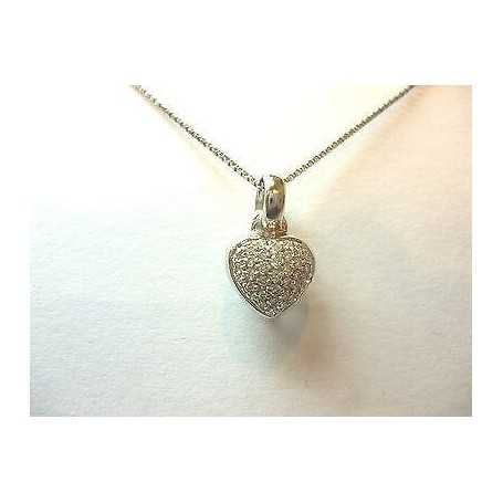 PENDENTIF COEUR DIAMANTS VS F COULEUR DE 0,30 CARAT EN OR 18 CT