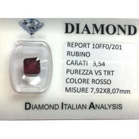 RUBY RED, ON CERTIFIED 3.54 CARAT VS clarity TRT in BLISTER