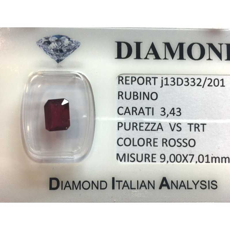 RUBY RED, ON the CERTIFICATE 3.43 CARATS, VS clarity, TRT and BLISTER