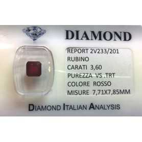 RUBY RED, ON the CERTIFICATE 3.60 CARATS, VS clarity, TRT and BLISTER