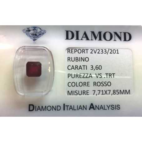 Bright red ruby certified 3.60 carat purity VS TRT in BLISTER