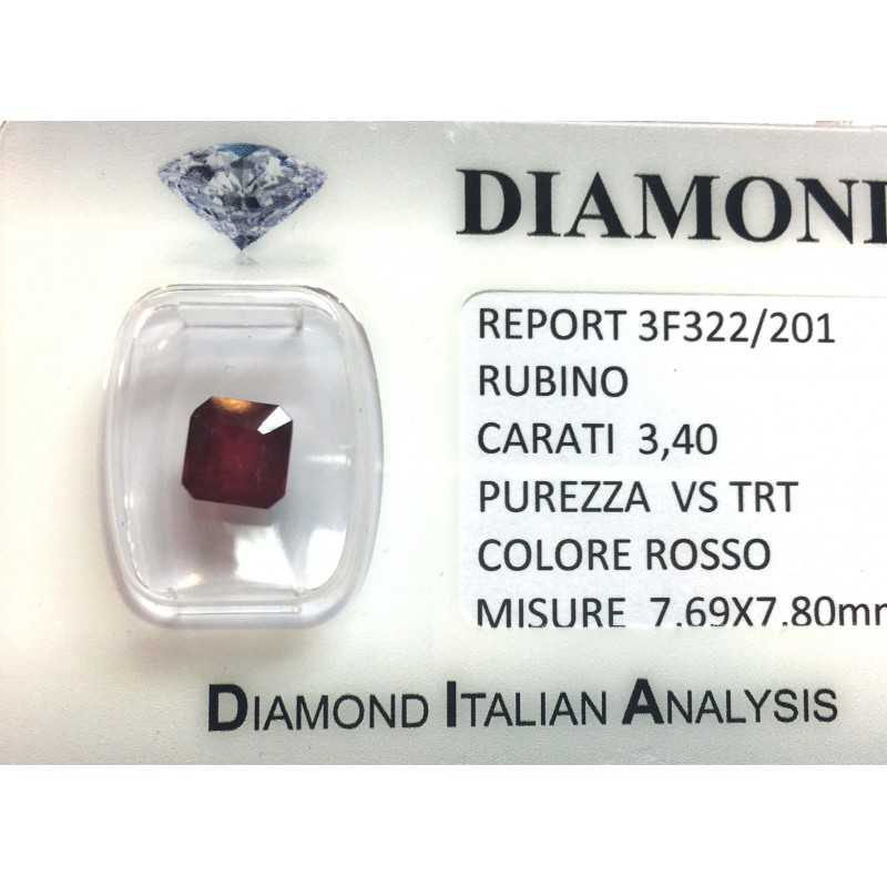 RUBY RED, ON the CERTIFICATE 3.40 CARATS, VS clarity, TRT and BLISTER