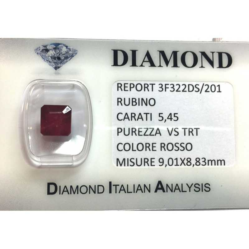 RUBY RED, ON the CERTIFICATE 5.45 CARATS, VS clarity, TRT and BLISTER