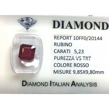 RUBY RED, ON the CERTIFICATE 5.23 CARATS, VS clarity, TRT and BLISTER