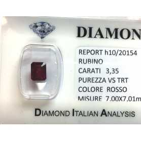 RUBY RED, ON CERTIFIED 3.35 CARAT VS clarity TRT in BLISTER