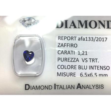 Blue sapphire certified 1.21 carat purity VS TRT in BLISTER