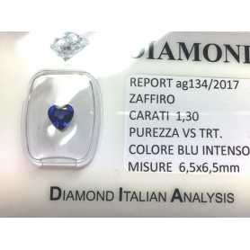 BLUE SAPPHIRE CERTIFIED 1.30 CARAT VS clarity TRT in BLISTER