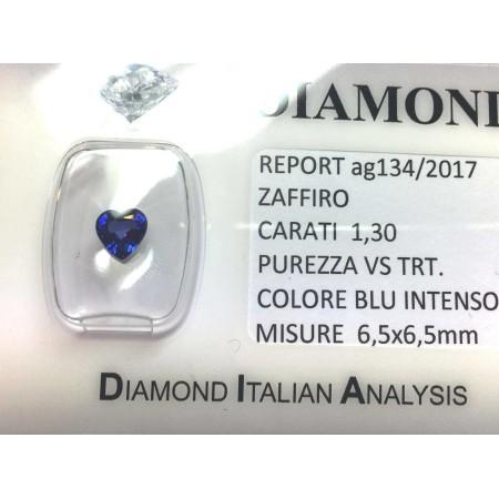 Blue sapphire certified 1.30 carat purity VS TRT in BLISTER