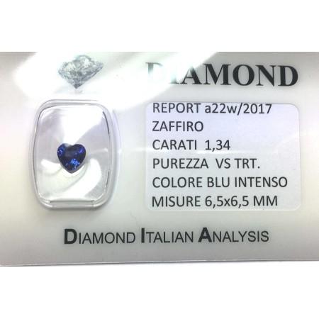 Blue sapphire certified 1.34 carat purity VS TRT in BLISTER