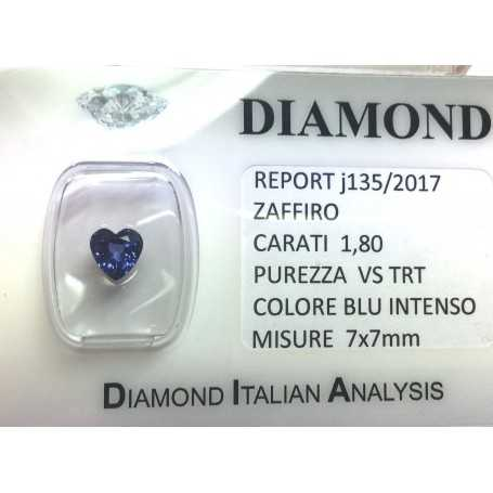Blue sapphire certified 1.80 carat purity VS TRT in BLISTER