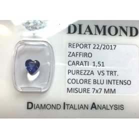 BLUE SAPPHIRE CERTIFIED 1.51 CARAT VS clarity TRT in BLISTER