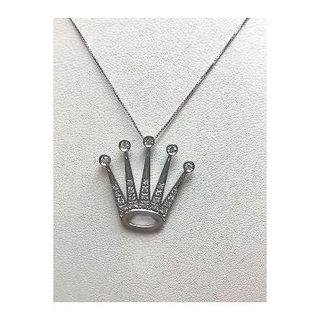pendentif daytona couronne de diamant de 0.50 carat d'or gr . 3.60 couronne