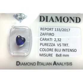 BLUE SAPPHIRE CERTIFIED 2.32 CARAT VS clarity TRT in BLISTER