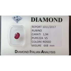 RUBY RED CERTIFIED 1.94 CARAT VS clarity, in BLISTER