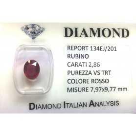 RUBY RED, ON CERTIFIED 2.86 CARAT VS clarity TRT in BLISTER
